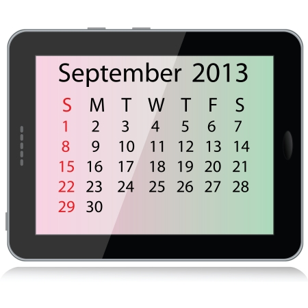 september calendar: illustration of september 2013 calendar framed in a tablet pc.