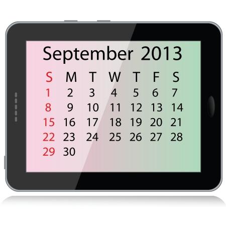 calendario septiembre: ilustraci�n de septiembre 2013 calendar enmarcado en un Tablet PC. Vectores
