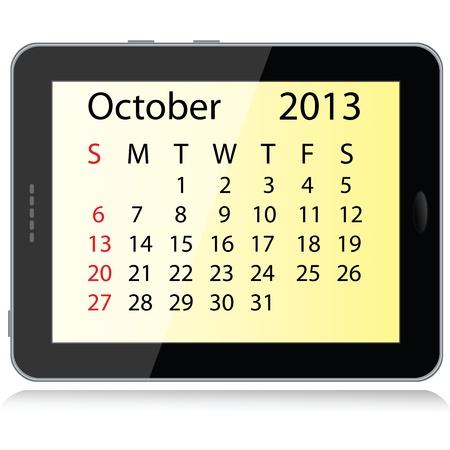 illustration of october 2013 calendar framed in a tablet pc. Stock Vector - 15145806