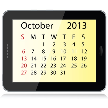 electronic organiser: illustration of october 2013 calendar framed in a tablet pc.