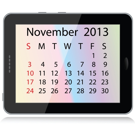 illustration of november 2013 calendar framed in a tablet pc.