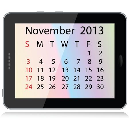 electronic organiser: illustration of november 2013 calendar framed in a tablet pc.