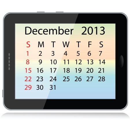 illustration of december 2013 calendar framed in a tablet pc. Stock Vector - 15145811