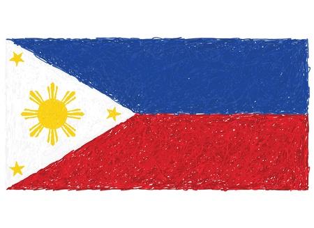 pinoy: hand drawn illustration of Philippine flag in white background. Illustration