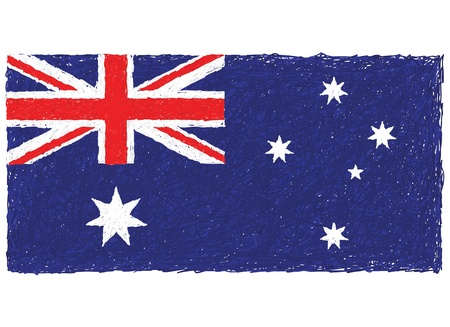 hand drawn illustration of Australian flag in white background. Vector