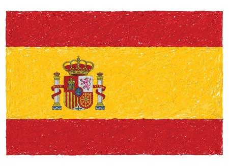spanish culture: hand drawn illustration of flag of Spain.