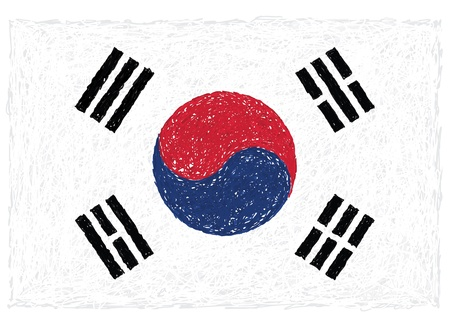 seoul: hand drawn illustration of flag of South Korea.