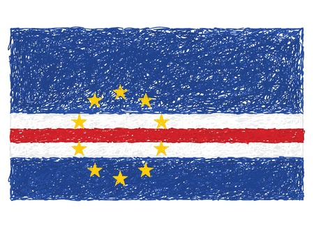 cape verde flag: hand drawn illustration of flag of Cape Verde.