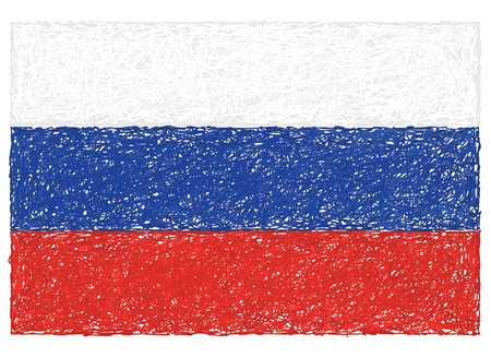 russian federation: hand drawn illustration of flag of Russia