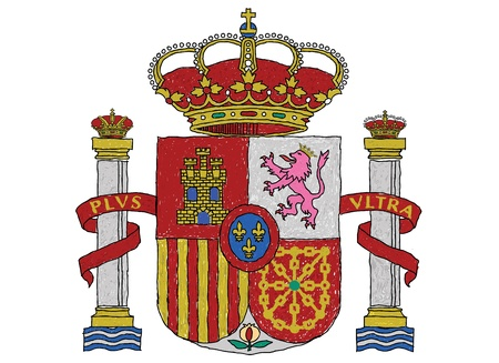 spanish flag: hand drawn illustration of spain coat of arms. Illustration