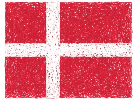 hand drawn illustration of flag of Denmark Vector