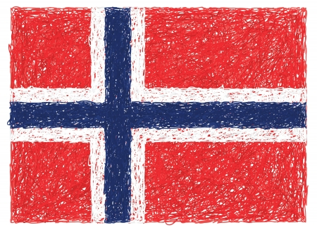 norwegian flag: hand drawn illustration of flag of Norway Illustration