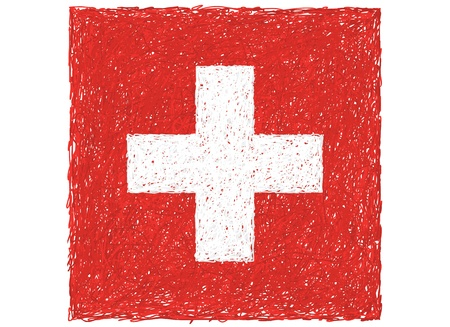 switzerland flag: hand drawn illustration of flag of Switzerland