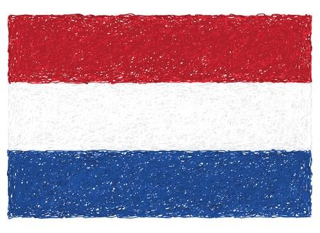 hand drawn illustration of flag of Netherlands Stock Vector - 15230118
