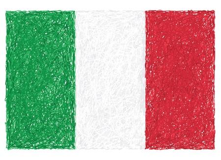 bandera italiana: dibujado a mano ilustraci�n de la bandera de Italia.