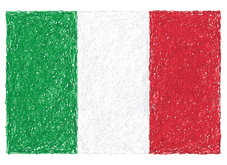the italian flag: mano, disegnato, illustrazione di bandiera d'Italia.