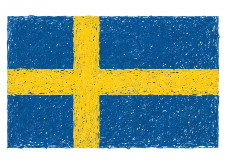 hand drawn illustration of flag of Sweden Vector