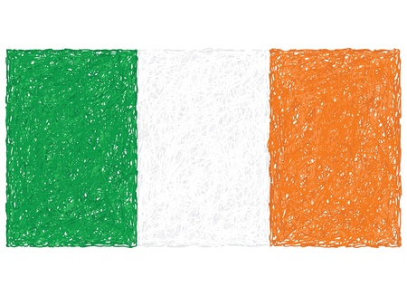 irish pride: hand drawn illustration of flag of Ireland