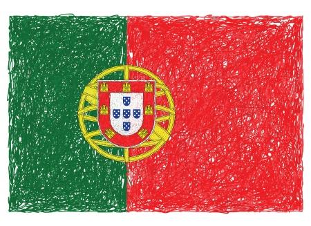 drapeau portugal: main illustration tirée du drapeau du Portugal Illustration