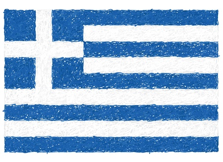 hand drawn illustration of flag of Greece Vector