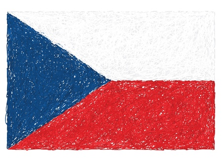 hand drawn illustration of flag of Czech republic Vector