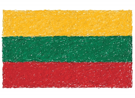 lithuanian: hand drawn illustration of flag of Lithuania