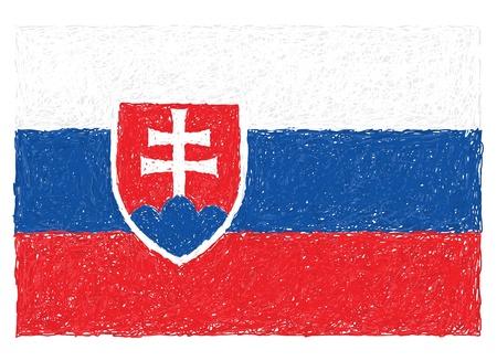 slovakian: hand drawn illustration of flag of Slovakia