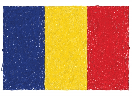 romania flag: hand drawn illustration of flag of Romania