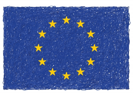 hand drawn illustration of flag of European Union Vector