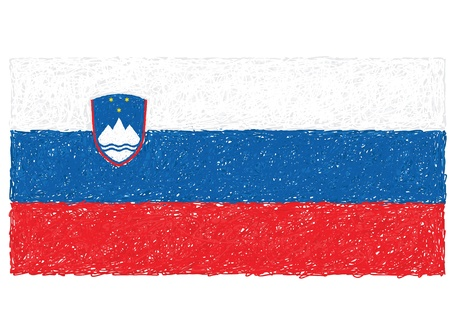 hand drawn illustration of flag of Slovenia Stock Vector - 15361045