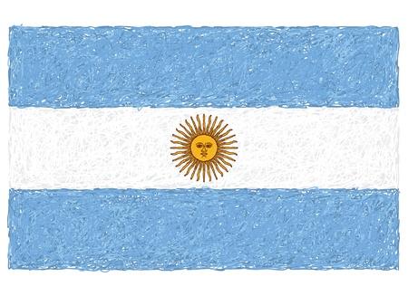 argentina flag: hand drawn illustration of flag of Argentina