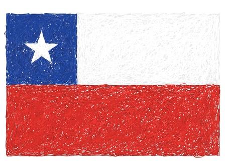 bandera chilena: dibujado a mano ilustración de la bandera de Chile Vectores