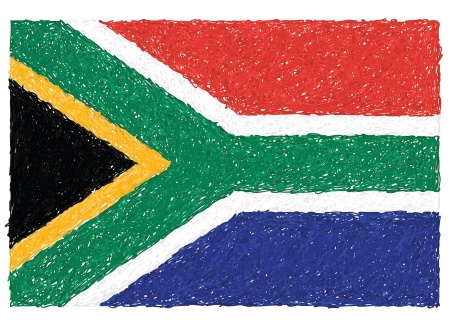 south african: hand drawn illustration of flag of South Africa