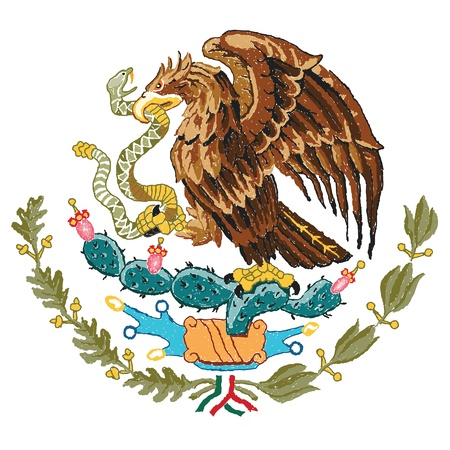 bandera mexicana: dibujado a mano ilustraci�n de M�xico capa de brazos. Vectores