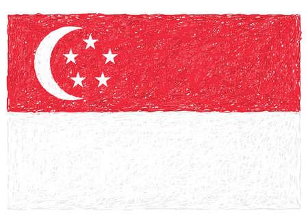 singaporean flag: hand drawn illustration of flag of Singapore