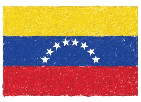 latin american: hand drawn illustration of flag of Venezuela
