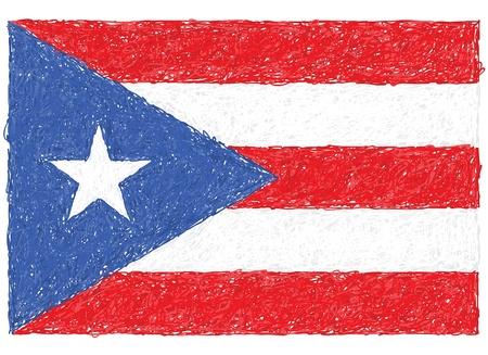 bandera de puerto rico: dibujado a mano ilustración de la bandera de Puerto Rico
