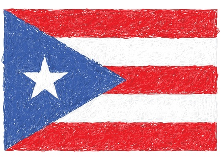 puerto rican flag: hand drawn illustration of flag of Puerto Rico
