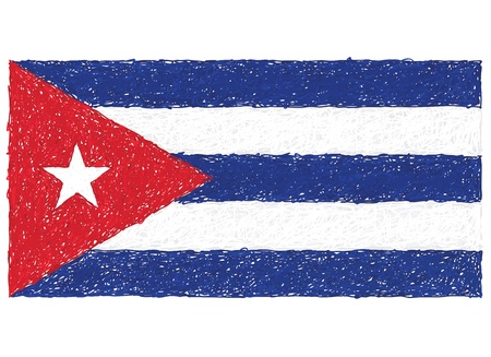 cuban flag: hand drawn illustration of flag of Cuba. Illustration