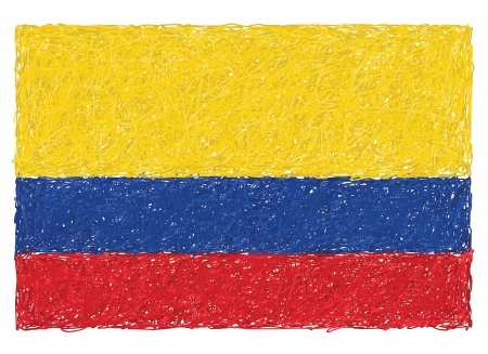 colombia flag: hand drawn illustration of flag of Colombia