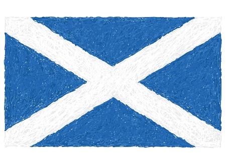 scotland flag: hand drawn illustration of flag of Scotland