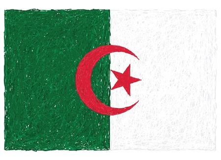 algeria: hand drawn illustration of flag of Algeria Illustration