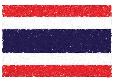 hand drawn illustration of flag of Thailand