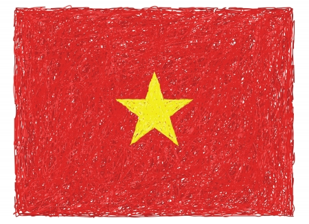 vietnam flag: hand drawn illustration of flag of Vietnam
