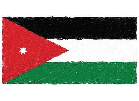 jordanian: hand getrokken illustratie van de vlag van Jordanië Stock Illustratie