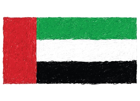 hand drawn illustration of flag of United Arab Emirates Vector