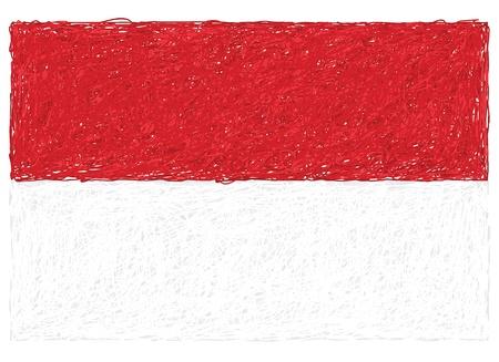 hand drawn illustration of flag of Indonesia Vector