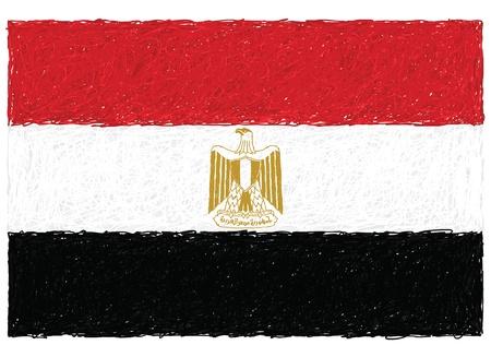 bandera de egipto: dibujado a mano ilustración de la bandera de Egipto Vectores