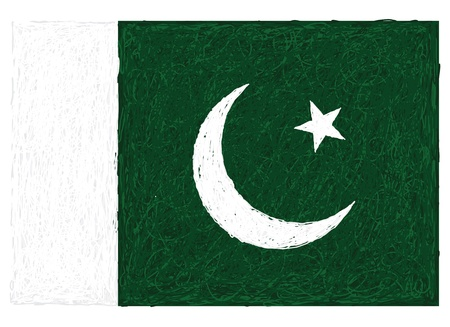 pakistan flag: hand drawn illustration of flag of Pakistan Illustration