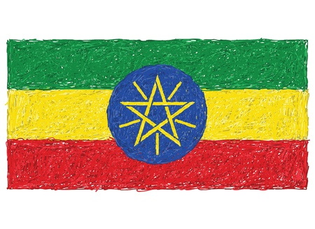 hand drawn illustration of flag of Ethiopia Vector